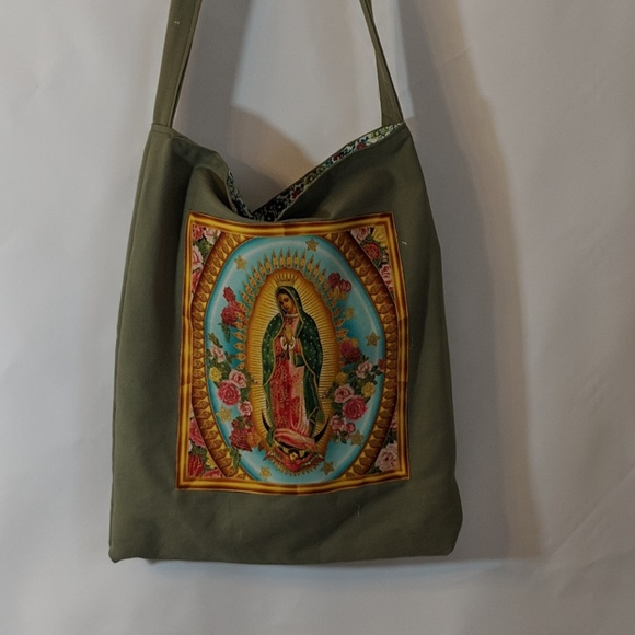 """Women large canvas tote bags with Our Lady of Guadalupe Image Size 15/"""" x 15/"""""""